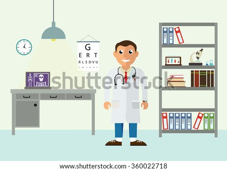 Doctor's office. Isolated vector illustration in flat design style