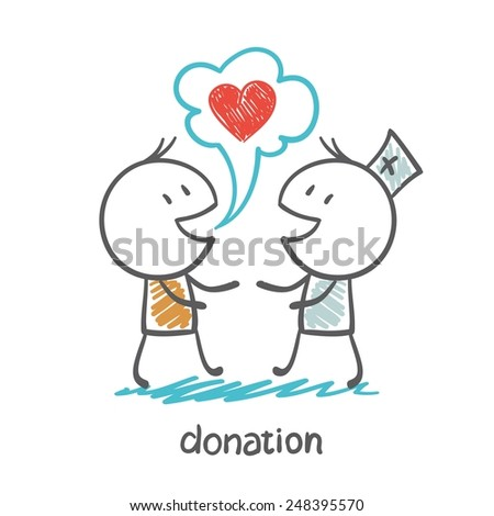 doctor says to the man on the donation illustration - stock vector