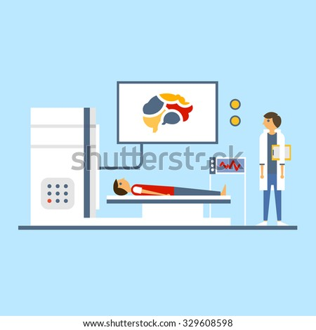 Doctor scanning patient brain, vector illustration in flat style