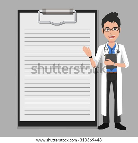 Doctor showing blank clipboard sign for presentation - character design vector illustration - stock vector