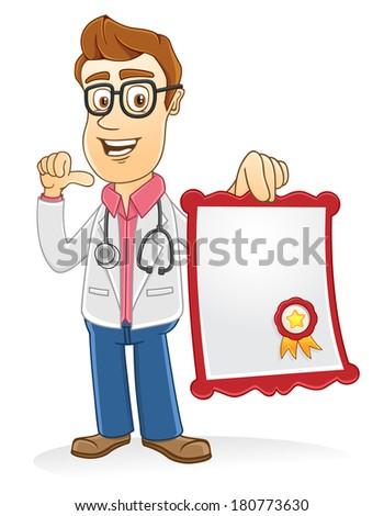 Doctor showing his certificate on his hand  - stock vector