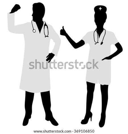 doctor Showing Muscle Arms, female doctor showing like, thumb up - stock vector