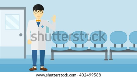 Doctor showing sign ok. - stock vector