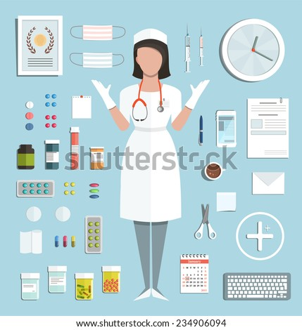 Doctor Standing Ready to Work with Pills Medications Bottles and Tools. Medicine flat style illustration with a nurse. Vector EPS10. - stock vector