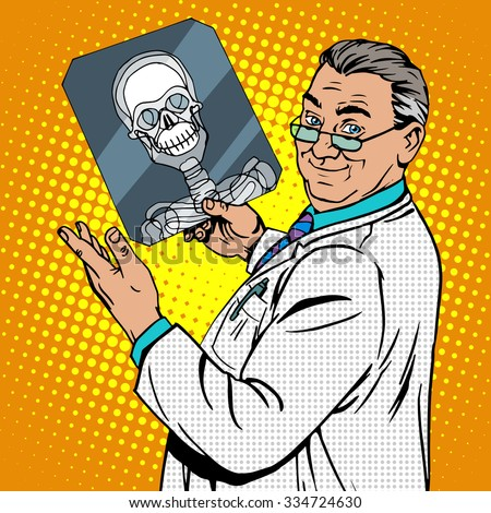 doctor surgeon x-rays skull. Medicine and health pop art retro style - stock vector