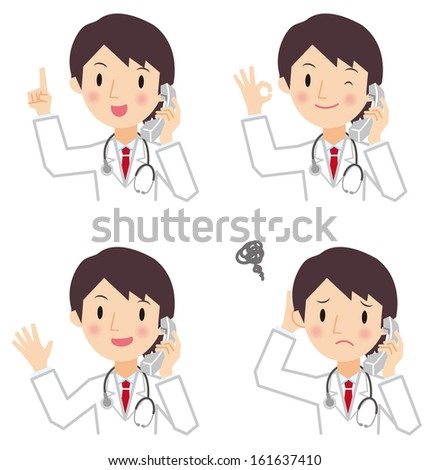 Doctor talking on the phone - stock vector