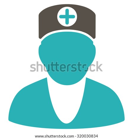 Doctor vector icon. Style is bicolor flat symbol, grey and cyan colors, rounded angles, white background.