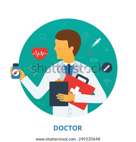 Doctor, vector illustration - stock vector