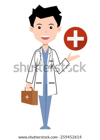 Doctor, vector illustration, isolated white background - stock vector