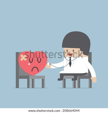 Doctor with a wounded heart, VECTOR, EPS10 - stock vector