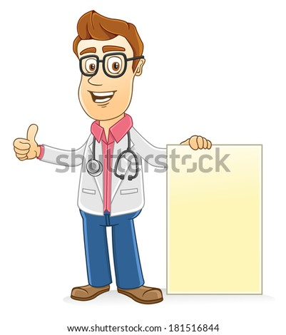 Doctor with Blank board - stock vector