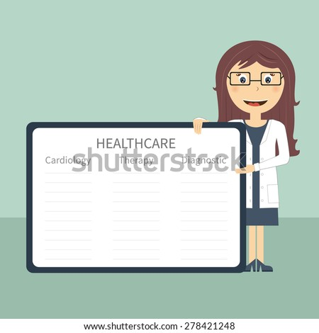 Doctor with frame in flat design. Woman doctor present with frame and sample data. Vector file is easy to edit and ready for use. - stock vector