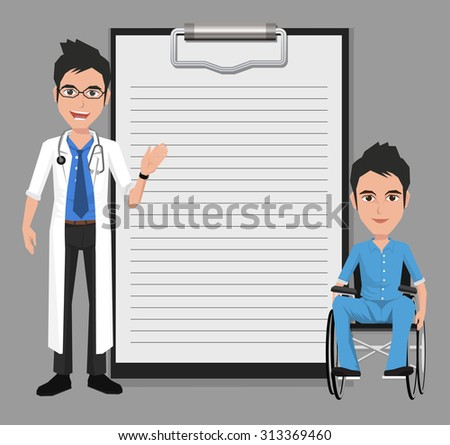 Doctor with man in a wheelchair showing blank clipboard sign for presentation - character design, vector illustration - stock vector