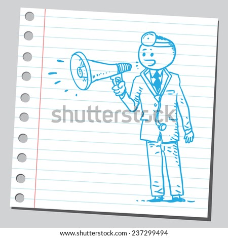Doctor with megaphone - stock vector