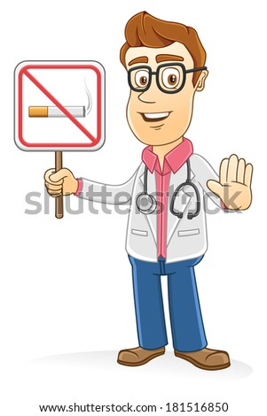 Doctor with no smoking sign  - stock vector