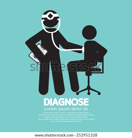 Doctor With Patient Diagnose Concept Black Symbol Vector Illustration - stock vector