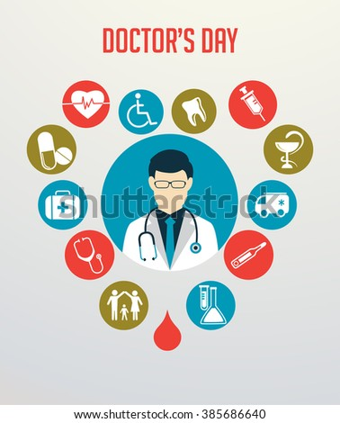 Doctor with stethoscope around his neck and medical icons