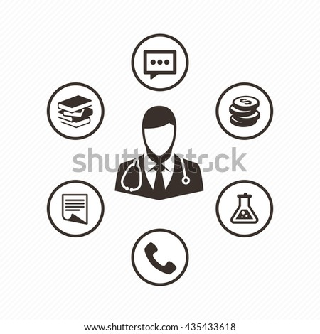 Doctor with stethoscope around his neck. Medical icons set in flat style. Medical consultation icons. - stock vector