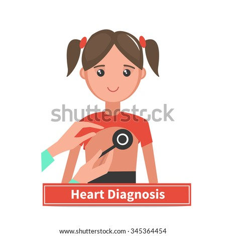 Doctor with stethoscope listening to child chest. Children heart Diagnosis. Illustration isolated on White background. - stock vector