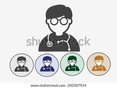 Doctor with stethoscope web icon - stock vector