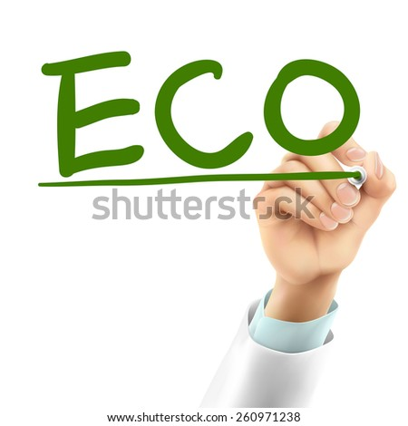 doctor writing ECO word in the air - stock vector