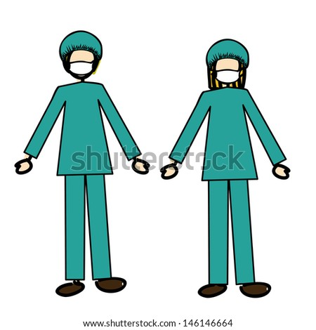 doctors couple over white background vector illustration  - stock vector