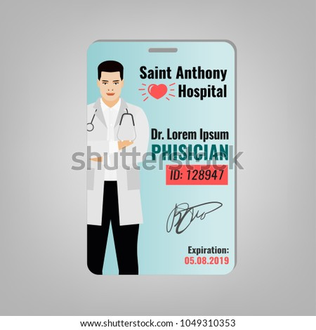 Doctors ID Card Hospital Logo Phisician Stock Vector - Hospital id badge template