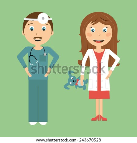 Doctors in flat design. Vector illustration of a smiling doctors - stock vector