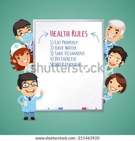 Doctors Presenting White Board. In the EPS file each element is grouped separately. - stock vector