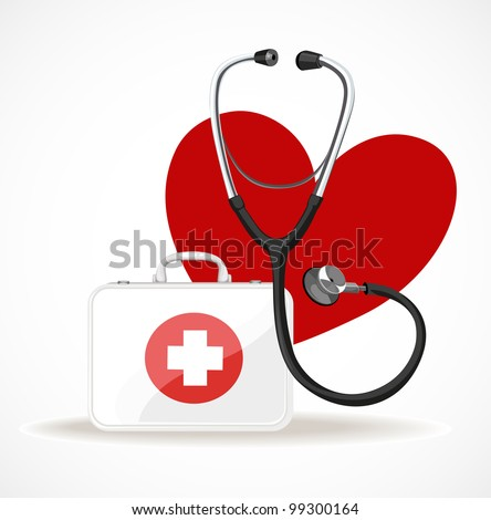 doctors stethoscope, first aid kit to help and heart