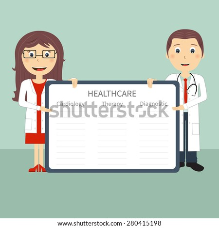 Doctors with frame in flat design. Doctors present with frame and sample data. Vector file is easy to edit and ready for use. - stock vector