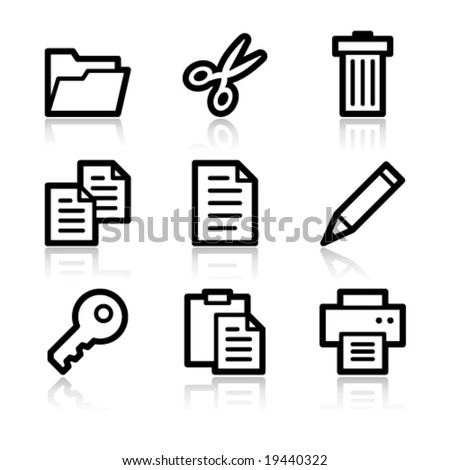 Document black contour web icons V2 - stock vector