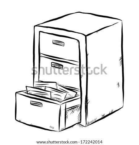 document cabinet / cartoon vector and illustration, black and white, hand drawn, sketch style, isolated on white background. - stock vector