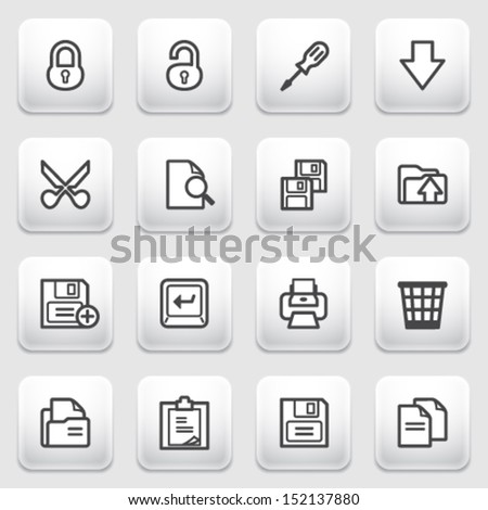 Document contour icons on gray background.