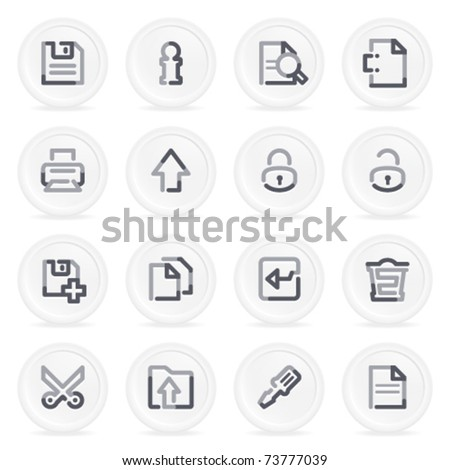 Document contour icons on gray buttons, set 1.