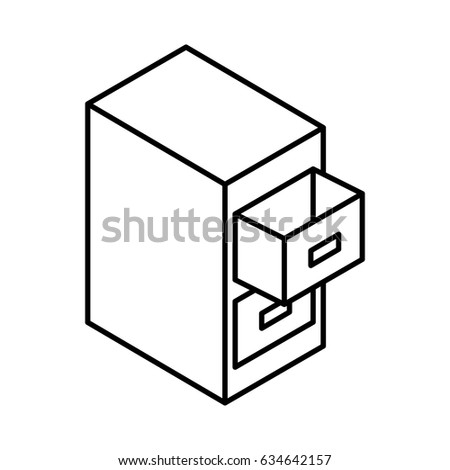 Document filing cabinet isometric
