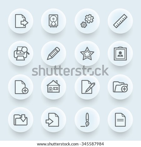 Document flat contour icons on blue background.