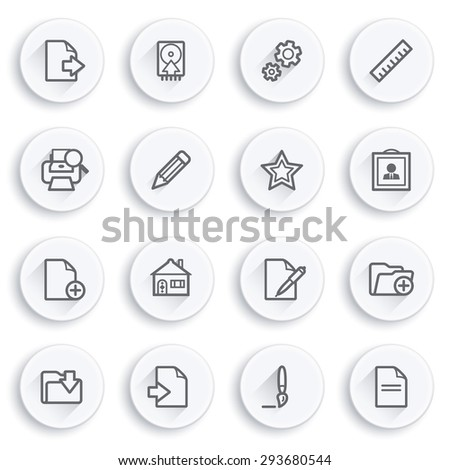 Document flat contour icons on white buttons. - stock vector