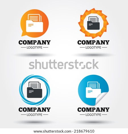 Document folder sign. Accounting binder symbol. Bookkeeping management. Business abstract circle logos. Icon in speech bubble, wreath. Vector - stock vector