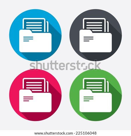 Document folder sign. Accounting binder symbol. Bookkeeping management. Circle buttons with long shadow. 4 icons set. Vector - stock vector