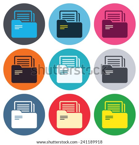 Document folder sign. Accounting binder symbol. Bookkeeping management. Colored round buttons. Flat design circle icons set. Vector - stock vector