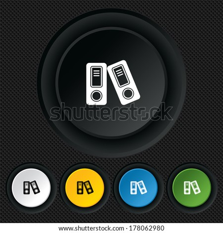 Document folder sign. Accounting binder symbol. Bookkeeping management. Round colourful buttons on black texture. Vector