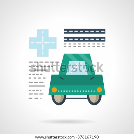 Document form of medical insurance for driver. Green car and abstract text. Insurance services. Vector icon flat color style. Web design element for site, mobile and business. - stock vector