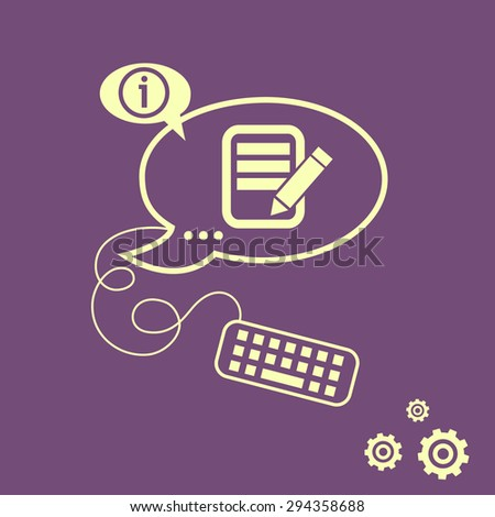 Document icon and keyboard design elements. Line icons for application development, web page coding and programming, creative process - stock vector