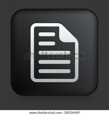 Document Icon on Square Black Internet Button Original Illustration - stock vector