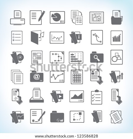 document icon set, paper and file icon set - stock vector