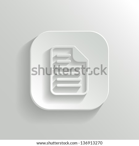 Document icon - vector white app button with shadow - stock vector
