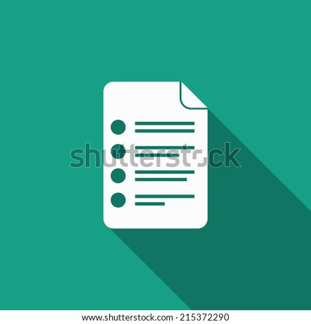 document icon with long shadow - stock vector