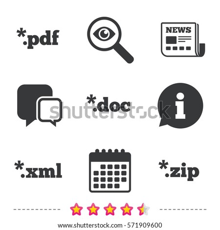 Document Icons File Extensions Symbols Pdf Stock Vector 571909600