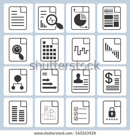 document icons, file icons set - stock vector